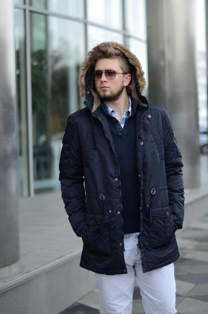 długa ciepła kurtka męska