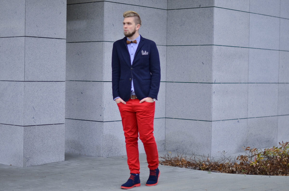 meskie czerwone spodnie stylizacja