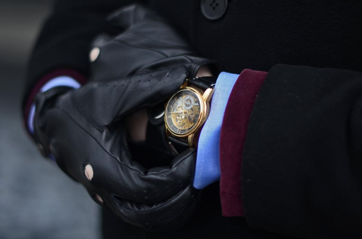 meski zegarek skeleton rekawiczki napo gloves