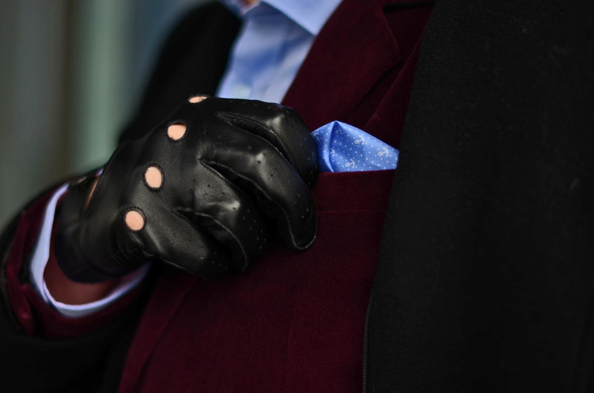 meskie czarne skorzane rekawiczki napo gloves