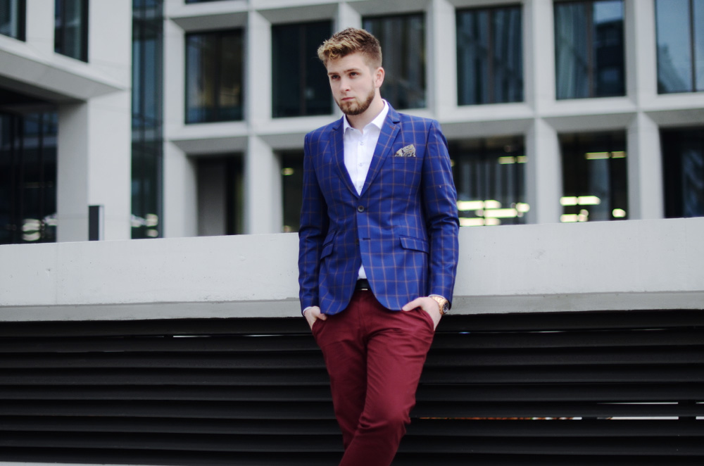 bordowe meskie spodnie