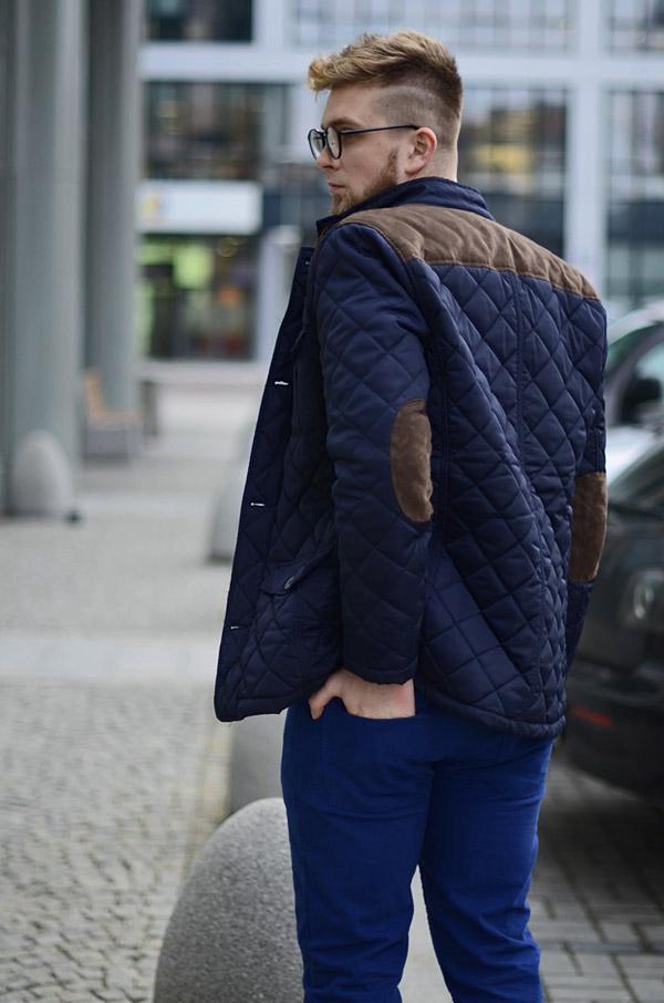 meska pikowana kurtka granatowa husky
