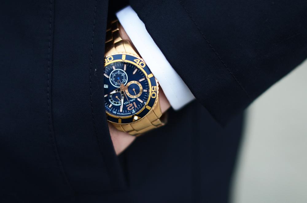 meski zegarek nautica zloto niebieski