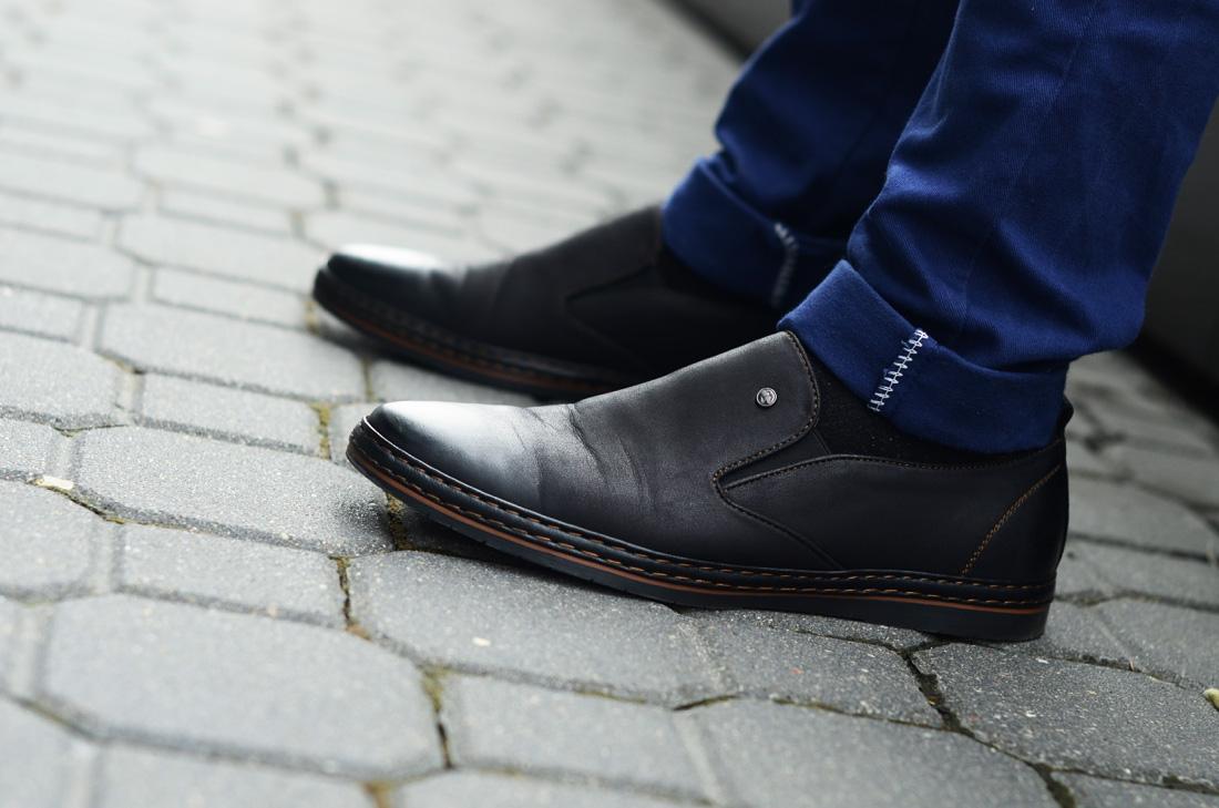 buty kari meskie czarne wkladane