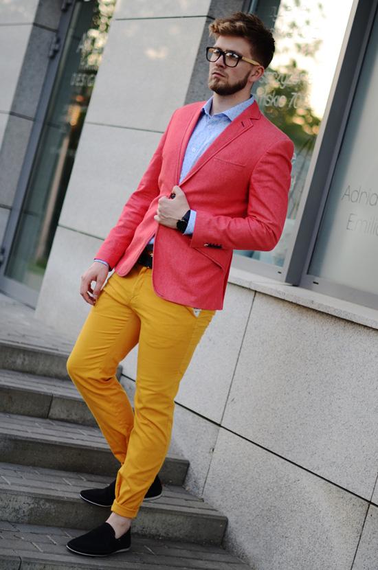 meskie zolte spodnie chino