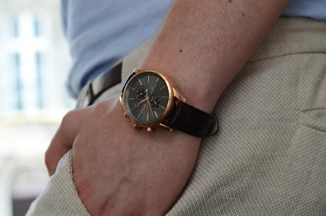 elegancki zegarek meski hugo boss brazowy pasek
