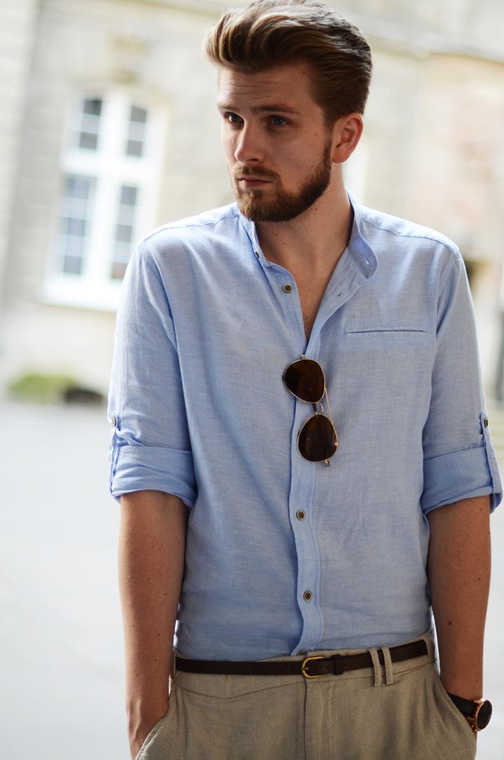 lniane meskie koszule blekitna niebieska