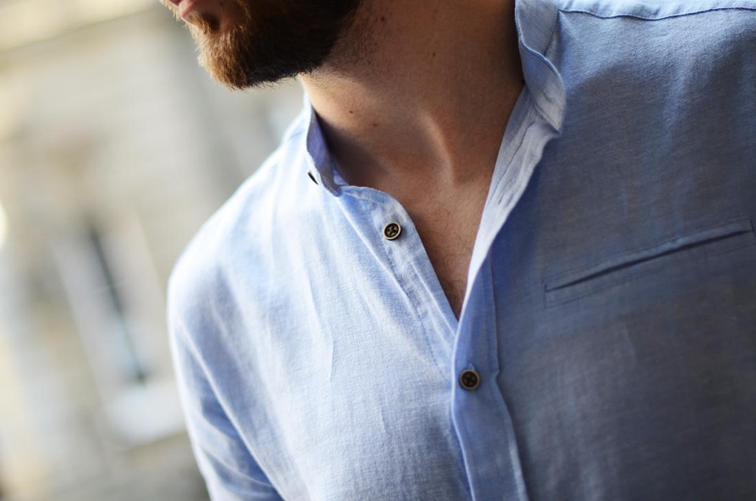 meska niebieska lniana koszula