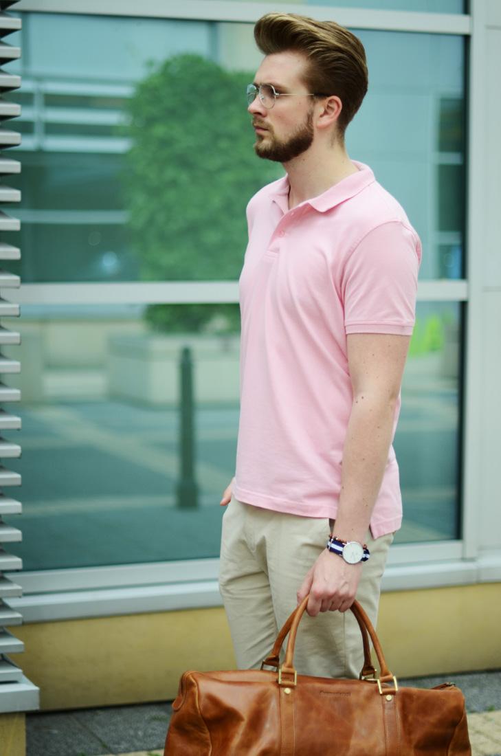 rozowa koszulka polo meska