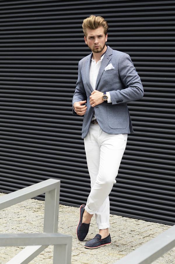 biale spodnie meskie