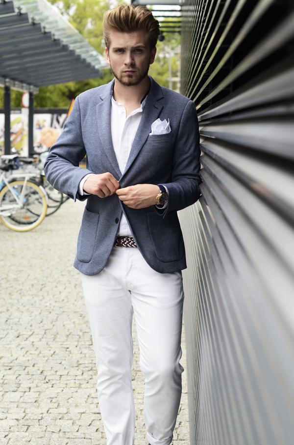 biale spodnie styl letni gentleman