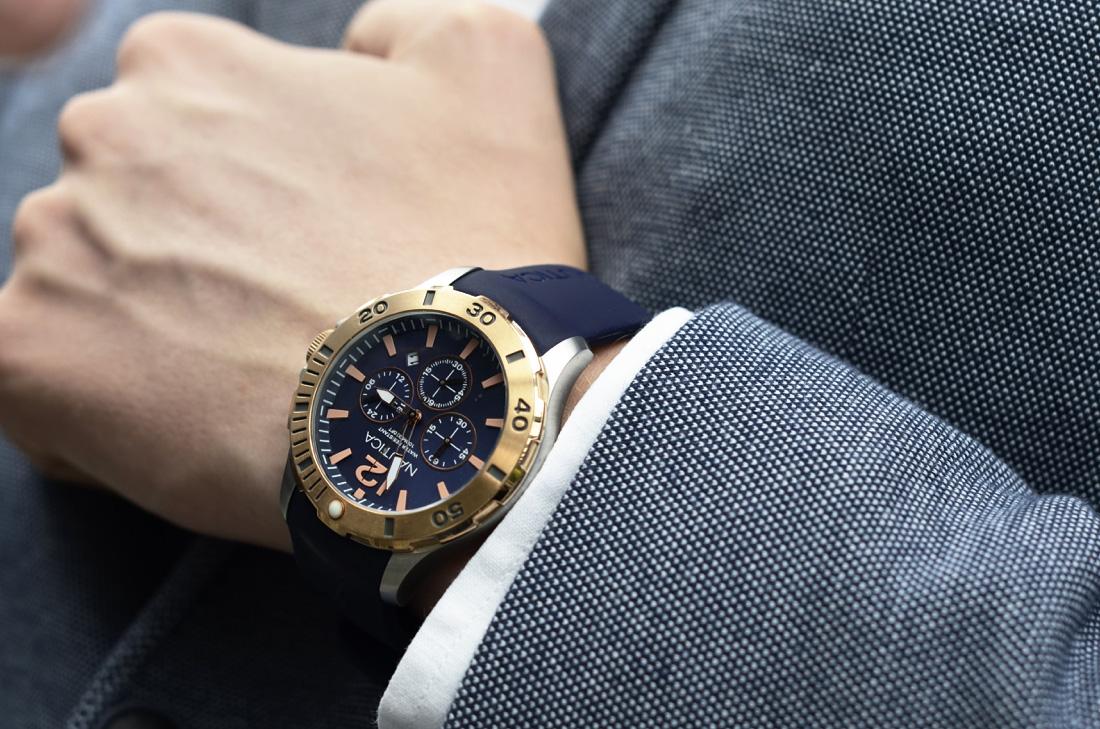 meski zegarek nautica granat zloto