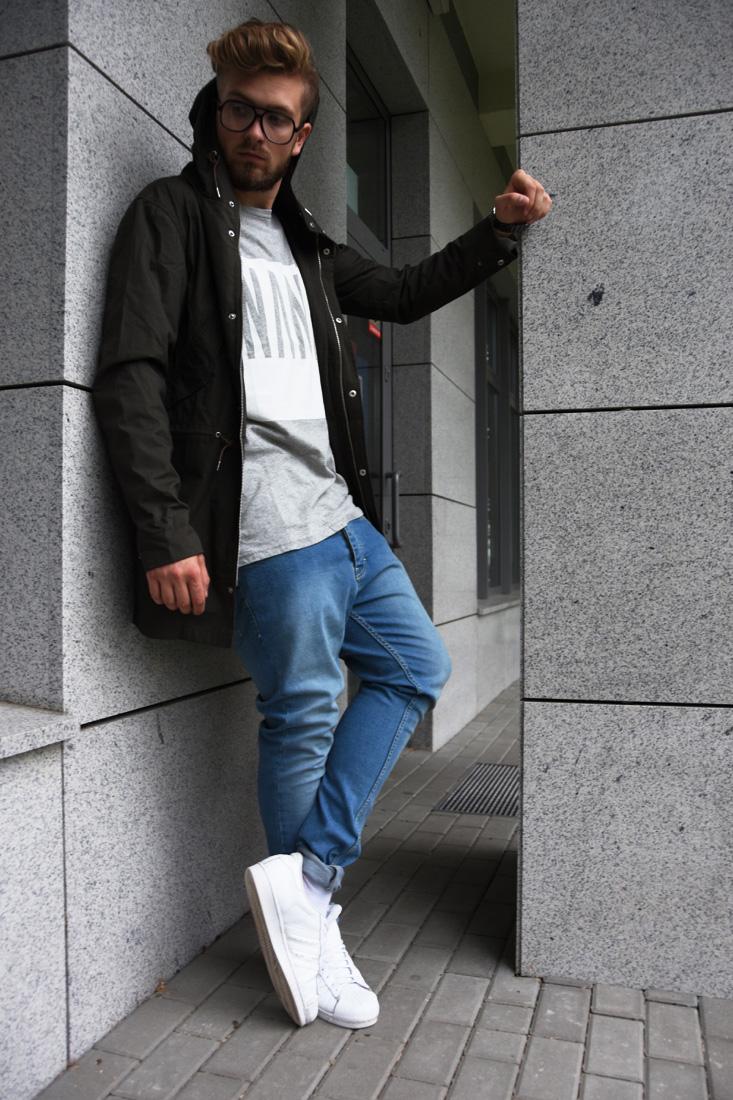 meskie niebieskie waskie jeansy
