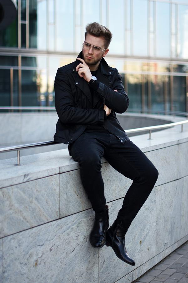 meska stylizacja na wiosne all black