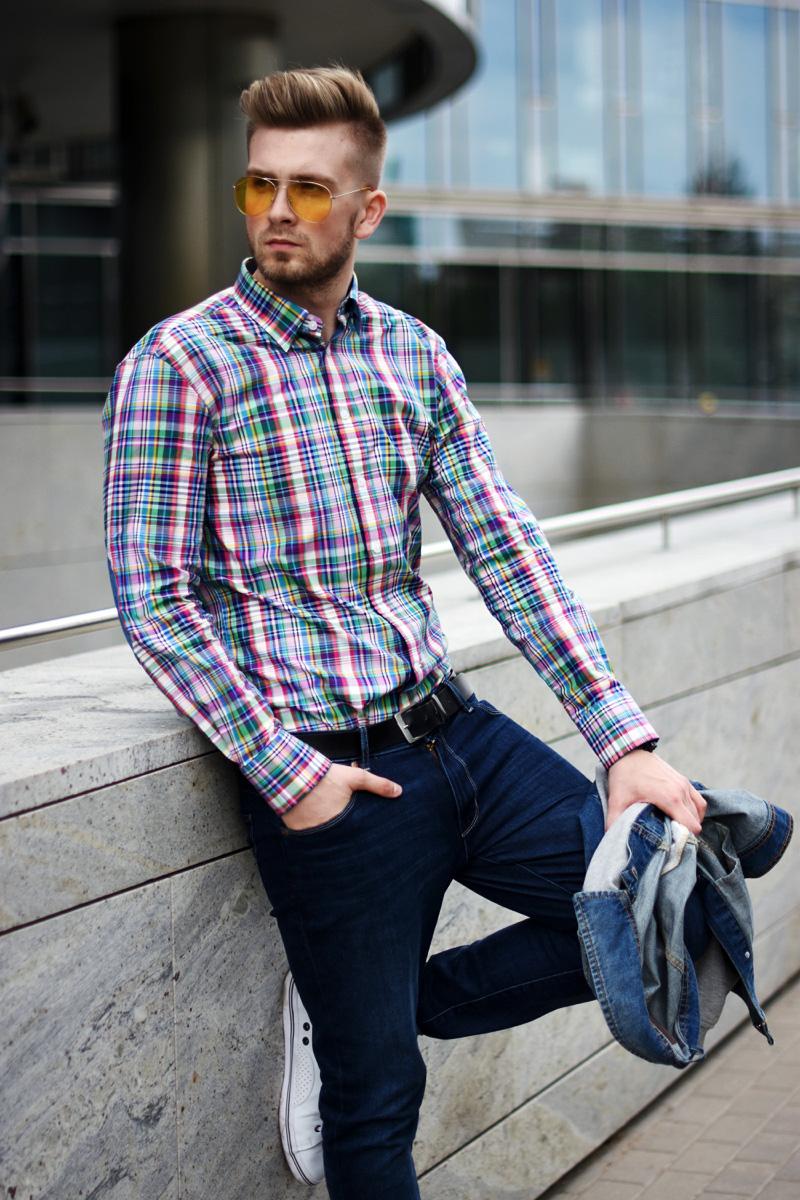 meska koszula w krate kolorowa wolczanka