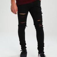 jeansy czarne z dziurami