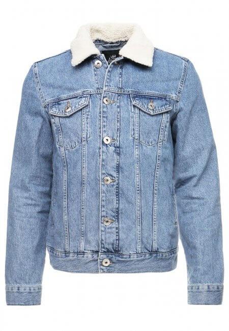 Niebieska kurtka jeansowa z kożuchem