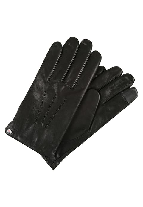 czarne męskie skórzane rękawiczki tommy hilfiger