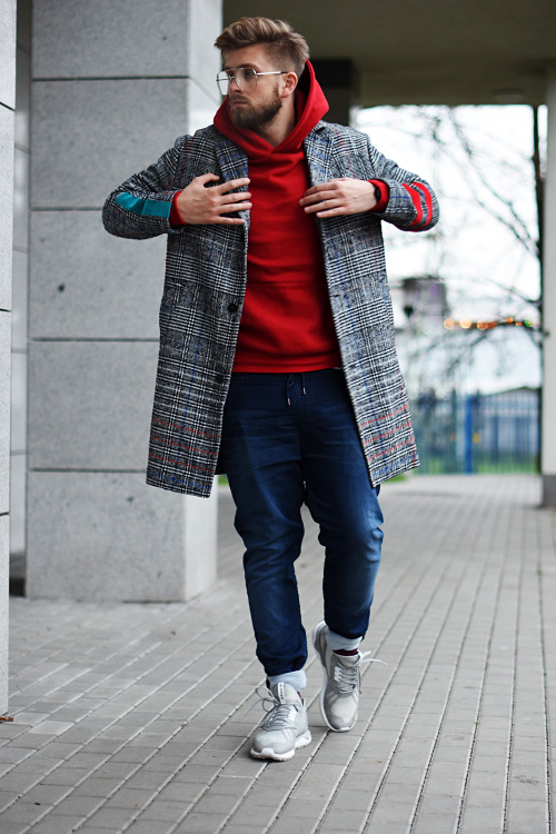 moda streetwear podlinski plaszcz w krate