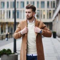 bezowy meski plaszcz camel coat