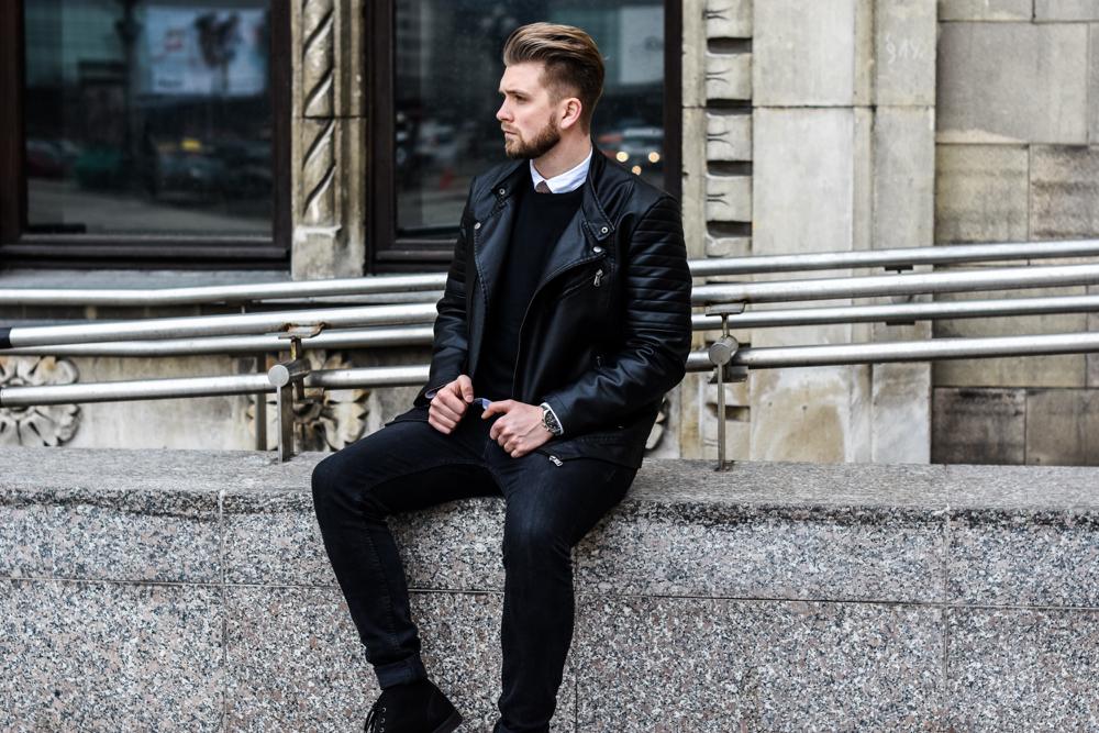 Skórzana męska kurtka z kożuchem. Stylizacje dla mężczyzn.