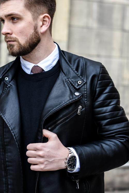 bluza i kurtka skórzana moda męska