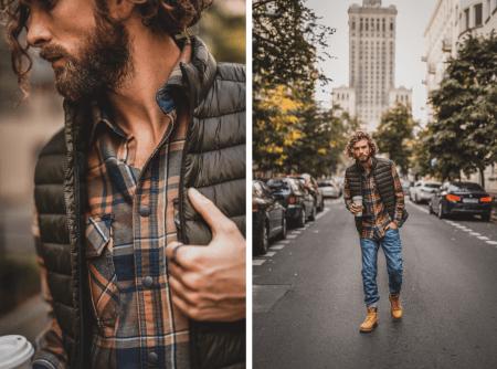 Jesienna koszula w kratkę i męska puchowa kamizelka.